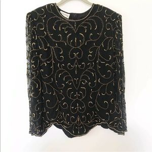 Vintage Stenay Black Beaded Blouse